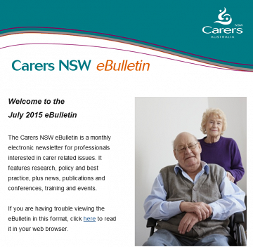 Carers NSW eBulletin July 2015 - now available