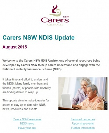 Carers NSW NDIS Newsletter August 2015 - now available