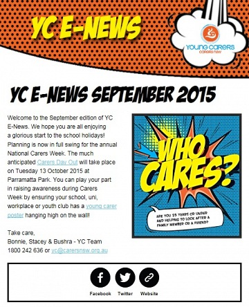 Young Carers E-Newsletter September 2015 - now available